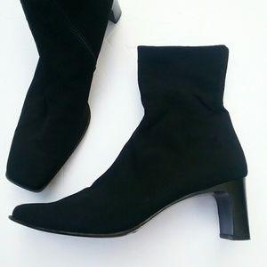 Paul Green Munich Black Nylon Zip Ankle Heel Boots